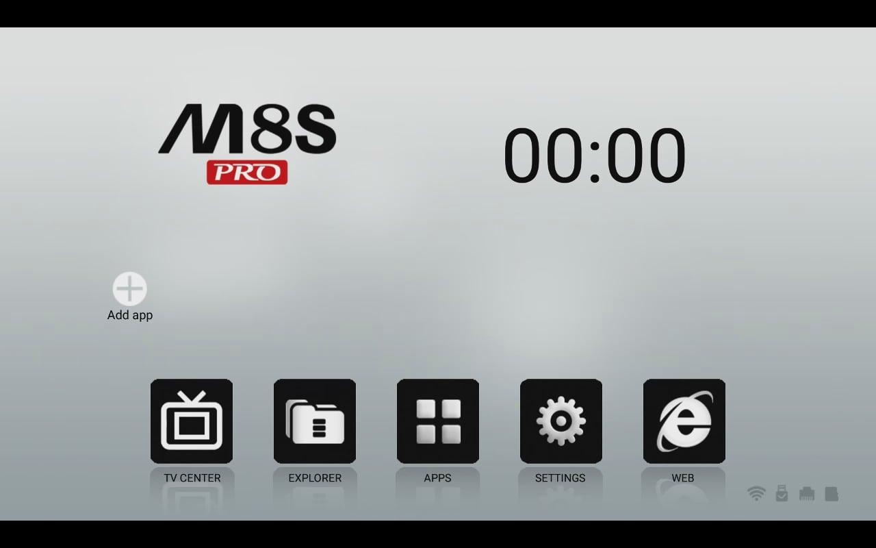 Mecool uživatelské prostředí (úvodní menu a menu aplikací)