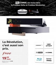 Nabídka Freebox TV + TV by Canal, jak ji prezentuje operátor Free