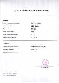 Příklad výpisu z evidence vozidel taxislužby. Toto auto je vybaveno taxametrem. Uvádí se jeho číslo a číslo paměťového modulu.