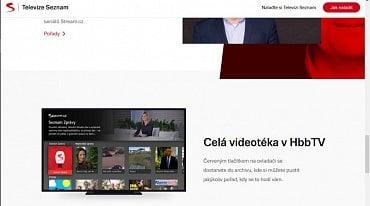 Na webové stránce www.televizeseznam.cz už najdete informace o doplňujícím HbbTV na regulérním televizním vysílání. Fotografie ovšem pochází z HbbTV kanálu Seznamu.