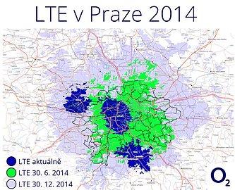 Plán pokrytí signálem LTE v Praze a okolí do konce letošního roku.