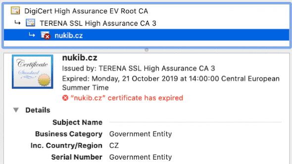 [aktualita] Weby NÚKIBu a vládního CERTu se hlásily jako nebezpečné, vypršel jim certifikát