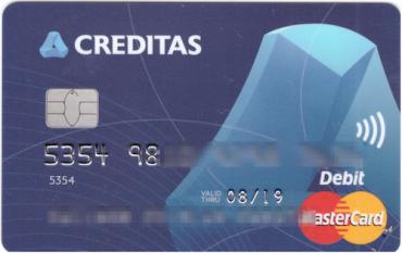 Design debetní karty Záložny Creditas, kterou začala vydávat 15. 8. 2016.