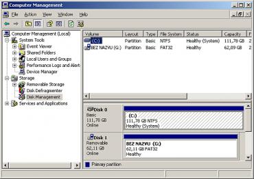 """Abyste televizorem zformátovaný disk po připojení k počítači s Windows viděli, je třeba vstoupit do tzv. Computer Management nebo-li – u lokalizovaného systému – Správa počítače. Zde ve """"správě disků"""" můžete vše napravit a přeformátovat ho např. na NTFS. Nemusí se to ale povést vždy. Mě v jednom případě dva počítače odmítly takovýto disk znova naformátovat, ať jsem zkoušel jakýkoli souborový systém."""