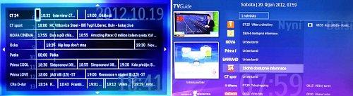 """Vlevo je EPG přijímané z DVB-T, vpravo EPG (TV Guide) přijímané přes internet. Všimněte si nápisu """"1 nahrávka"""", přes který vstoupíte do seznamu nahraných pořadů. V náhledu vlevo tuto možnost nemáte. Přes něj se na pořad můžete nechat upozornit, ale už ho nemůžete nahrát."""