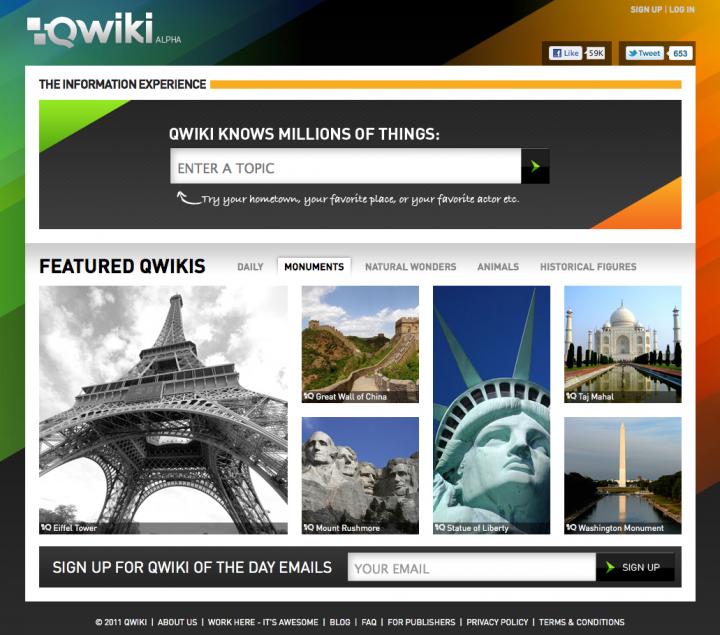 Titulní stránka Qwiki