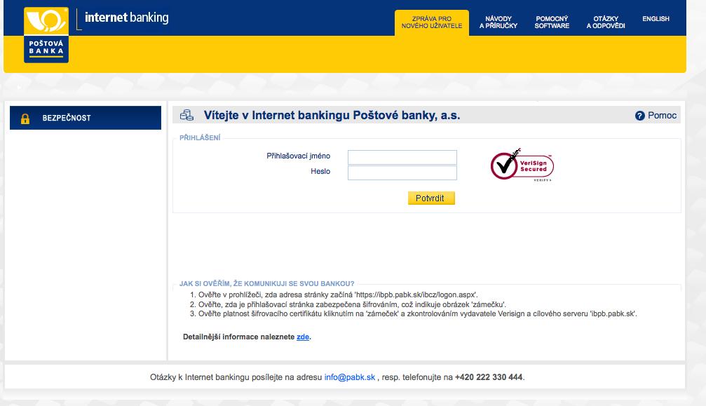 Poštová banka. Internetové bankovnictví
