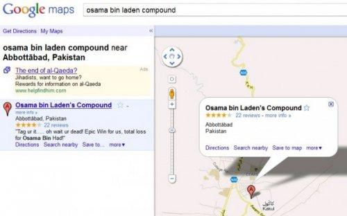 Smrt Bin Ladina na Google Maps