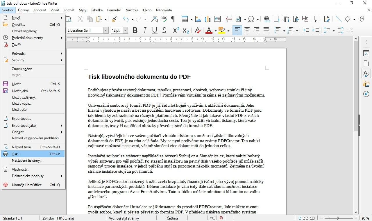 Tisk z LibreOffice