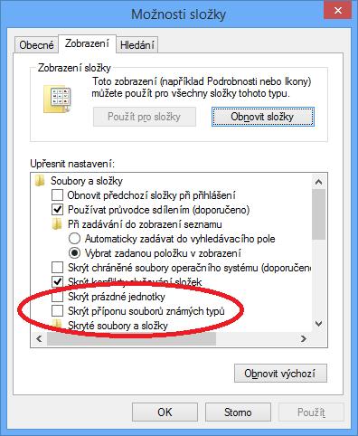 Možnosti složky ve Windows