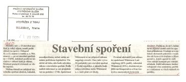 Výstřižek z deníku Telegraf z 21. 8. 1992 o stavebním spoření.