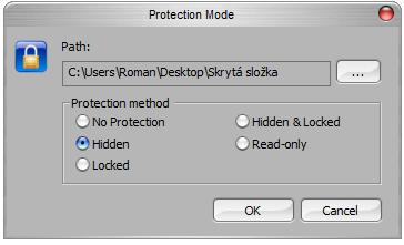 <p>Přidání další složky a výběr ochrany</p>