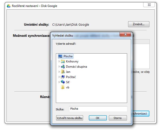 google drive - zmena slozky