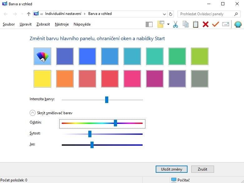 Pomocí posuvníků si můžete nastavit odstín, sytost a jas a tak si namíchat libovolný barevný odstín