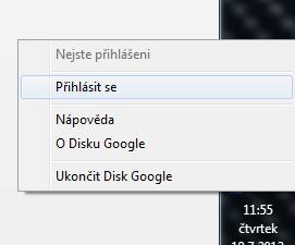 google drive - prihlaseni