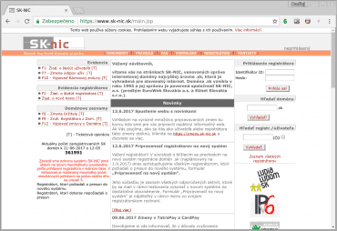 Webové stránky společnosti SK-NIC se za posledních patnáct let skoro nezměnily.