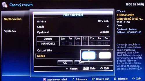 Pořad se dá nahrát i přes EPG, následná úprava časů je velice snadná. Ručně si nahrávku naprogramujete přes volbu Časový rozvrh v rozcestníku Smart Hub. Podporován je pouze tuner DVB-T.