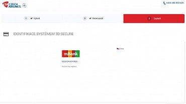Problém postihuje například platební bránu na webu ČSA při ověřování karty mBank.