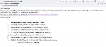 Ověření e-mailové adresy vyžadované webem s-drazby.cz (9. 7. 2019)