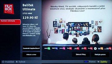 Už z továrny nainstalovaný Filmbox Live se, jak u testované Philips 55PUS9109, tak u levnějšího 55PFS8209, chová stejně. Omylem sem kdosi totiž nainstaloval aplikaci pro Maďarsko, byť částečně lokalizovanou, a s českým účtem jsem se tu nechytl.