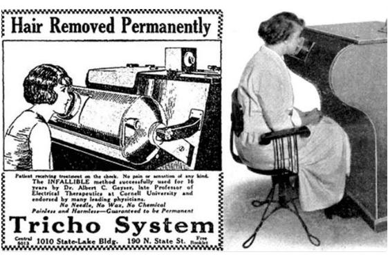 Zařízení Tricho v kadeřnictvích využívalo rentgenových paprsků např. k odstraňování chloupků