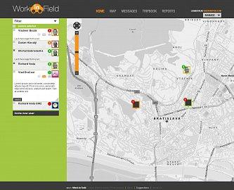 Ukázka webového rozhraní aplikace Work in Field