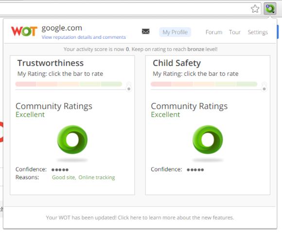 Doplněk Web of Trust vám zobrazí údaj o důvěryhodnosti každého webu, který navštívíte