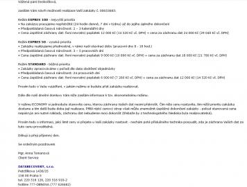 E-maily od společnosti DATARECOVERY ohledně ceny za záchranu dat.