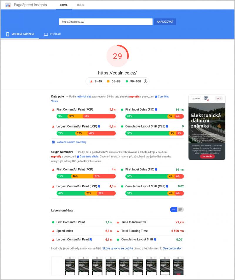 Kontrola rychlostních parametrů pomocí Google PageSpeed Insights