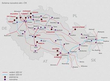 Schema rozvodné sítě v ČR provozované společností ČEPS. Rozvodna na pražském Chodově je jednou ze čtyř hlavních uzlů, ze kterých putuje elektrická energie do Prahy.