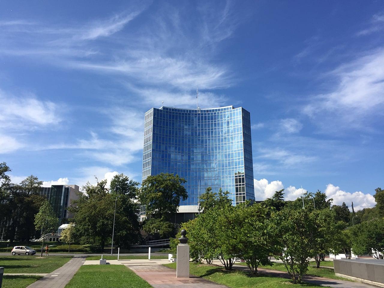 Sídlo Mezinárodní telekomunikační unie (ITU) v Ženevě