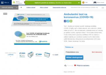 E-shop nabízí objednání ambulantních testů na koronavirus. Cenovka zatím chybí. (17. 3. 2020)