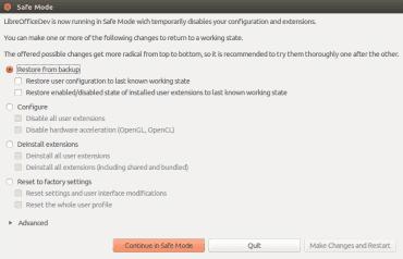 LibreOffice 5.3: nabídka záchranného režimu