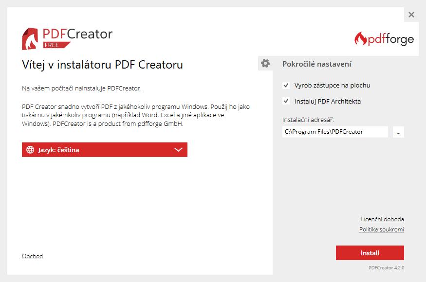 PDFCreator - nastavení