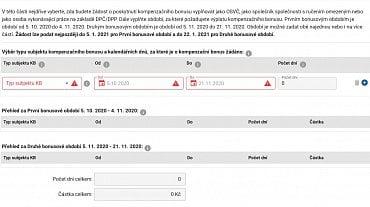 Ukázka online žádosti o kompenzační bonus. (5.11.2020)