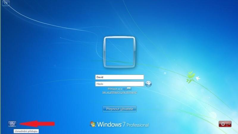 Možnosti usnadnění na přihlašovací obrazovce Windows 7