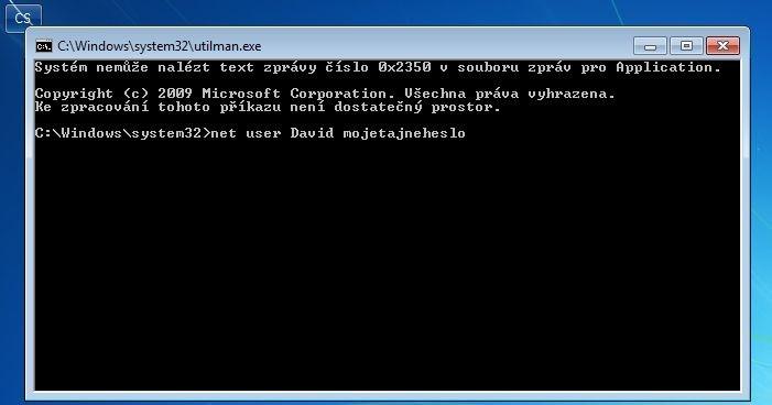 Reset hesla na příkazovém řádku ve Windows 7