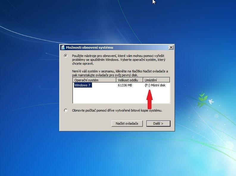 Možnosti obnovení Windows 7