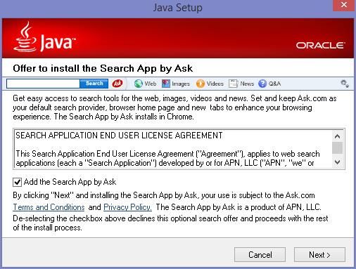 Až budete aktualizovat Javu, nezapomeňte odškrtnout instalaci crapware od Ask.com. Nezodpovědné Oracle stále manipuluje uživatele.