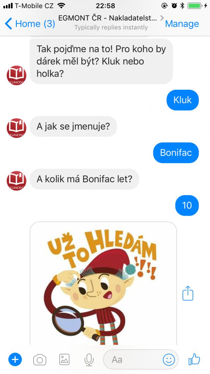 Egmont a jeho facebookový chatbot