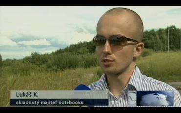 Okradený Lukáš Kuzmiak ve zprávách slovenské televize Markíza