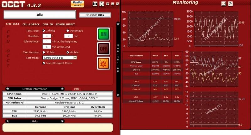 OCCT monitoruje výkon systému a prověří jeho stabilitu