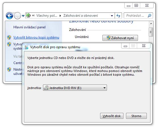 disk pro opravu systému