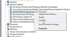 Odinstalování ovladače síťové karty ve Windows