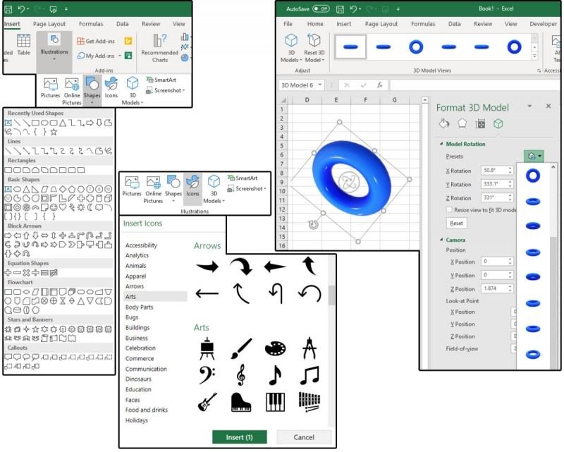 Vkládání obrazců, ikon, obrázků nebo 3D modelů