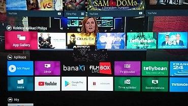 Philips 49PUS7502 s Android TV – nabídka na tlačítku Home bez Voyo.