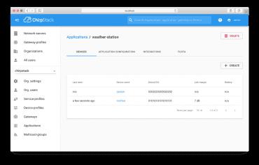 Ukázka webové konzole ChirpStack