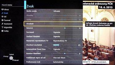 """Výtečná zvuková nastavení televizoru. Klasické basy a hloubky jsou dostupné ve většině režimů, pokud vyberete """"Uživatel"""" dostanete se do osmi pásmového ekvalizéru! Tohle u jiné značky neuvidíte. Všude je totiž pouze pěti pásmový!"""