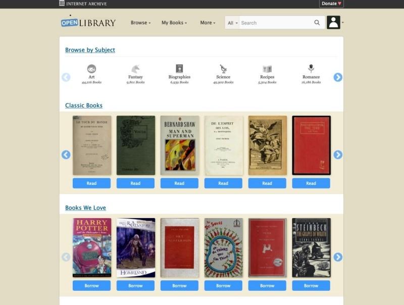 Open Library nabízí dobře přes milion e-knih, které jsou dostupné zdarma, nicméně bohužel je přístup k docela dost z nich vázán místními zákony
