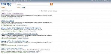 Výsledky hledání Bing v mezinárodní verzi.
